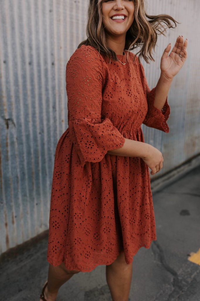 Rust Eyelet Modest Dress | ROOLEE