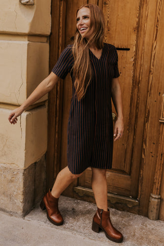 Rust Striped Mom Dress | ROOLEE