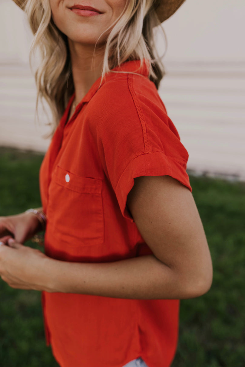 Red Button Down Summer Top | ROOLEE