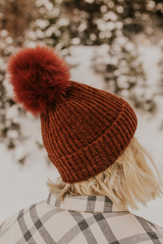 Pom Pom Red Rust Beanie Hat | ROOLEE
