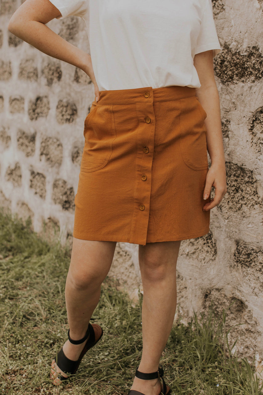 Pocket Button Front Skirt | ROOLEE