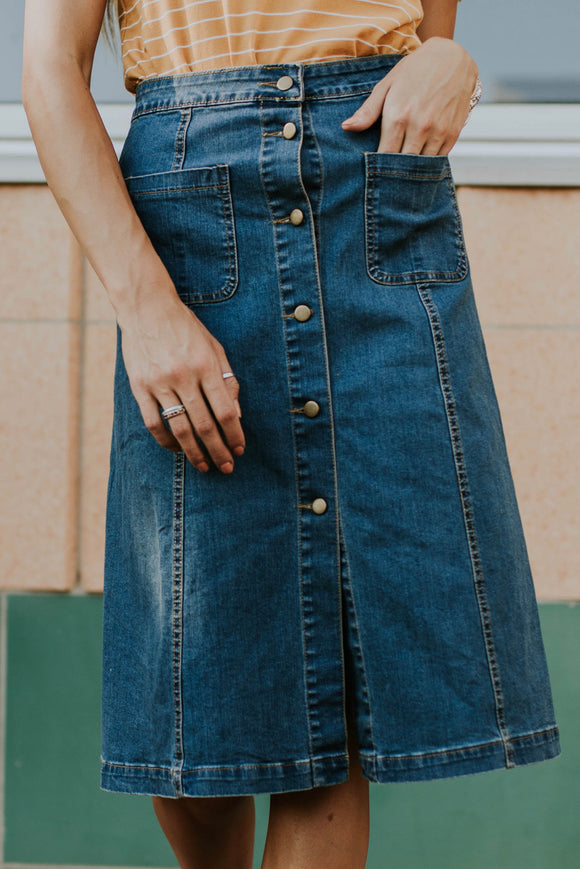Jocelyn Denim Skirt | ROOLEE