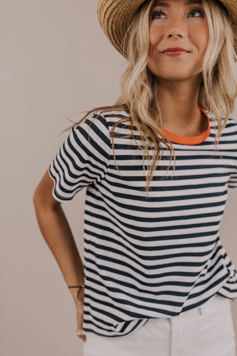 Simple Navy Stripe Tee Shirt | ROOLEE