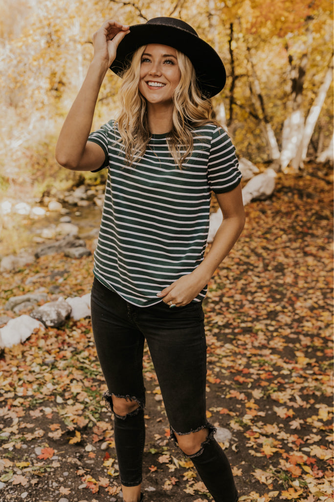 Muted Green Stripe T Shirt | ROOLEE