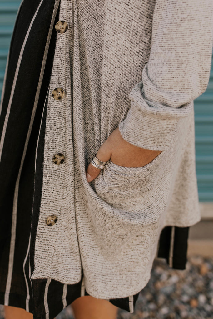 Stripe Button Up Sweater Outfit | ROOLEE