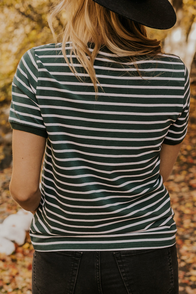 Green and White Stripe Women's Tee | ROOLEE