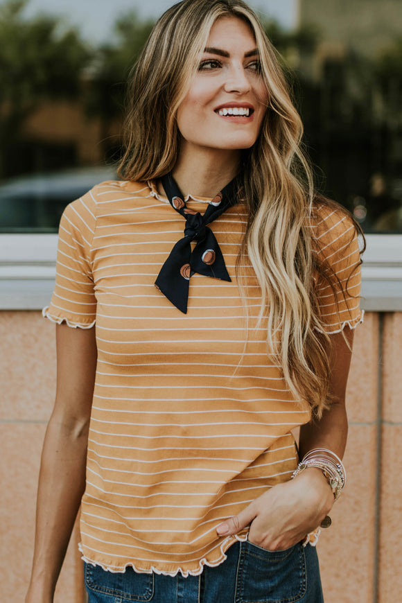 Summit Stripe Top in Honey | ROOLEE