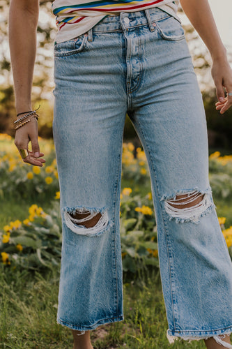 Distressed Wide Leg Jeans | ROOLEE