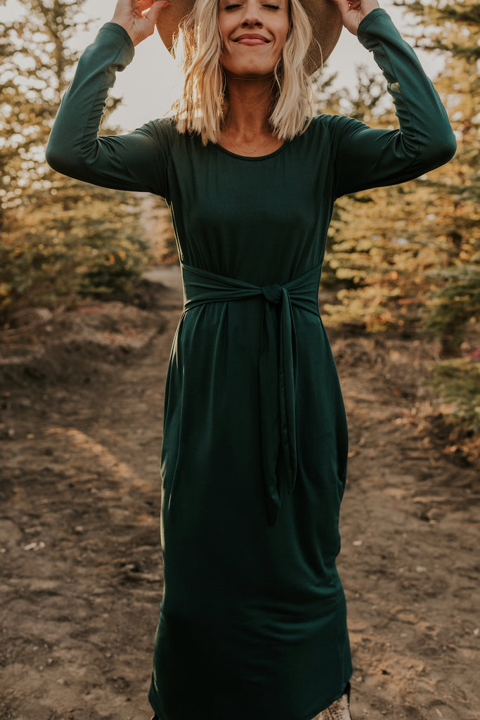 Long Sleeve Dark Green Maxi | ROOLEE