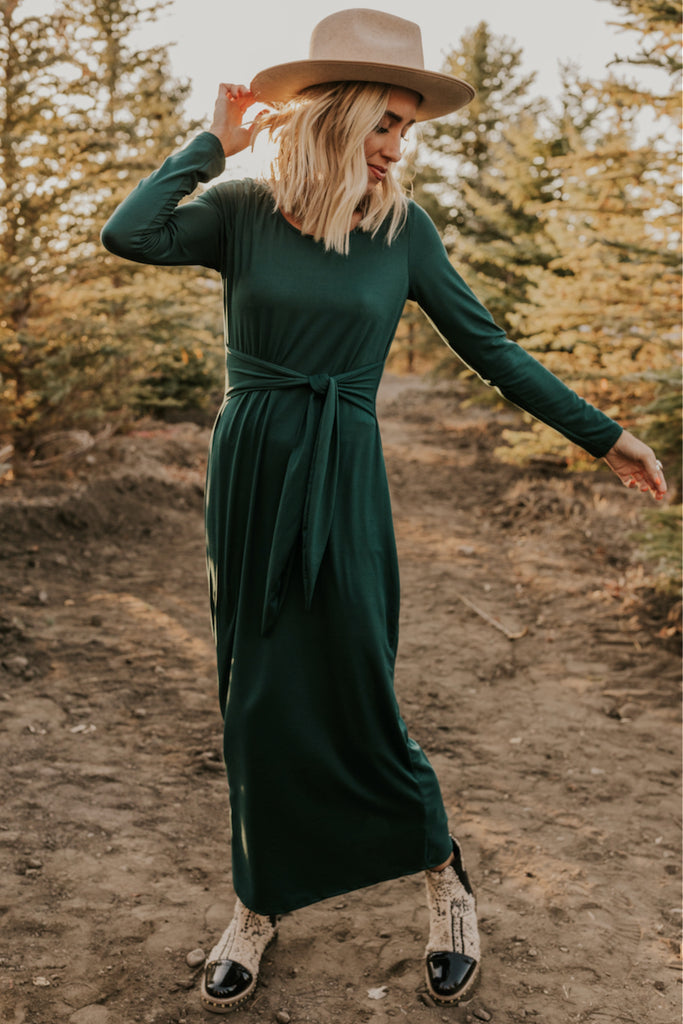 Hunter Green Maxi Dress | ROOLEE