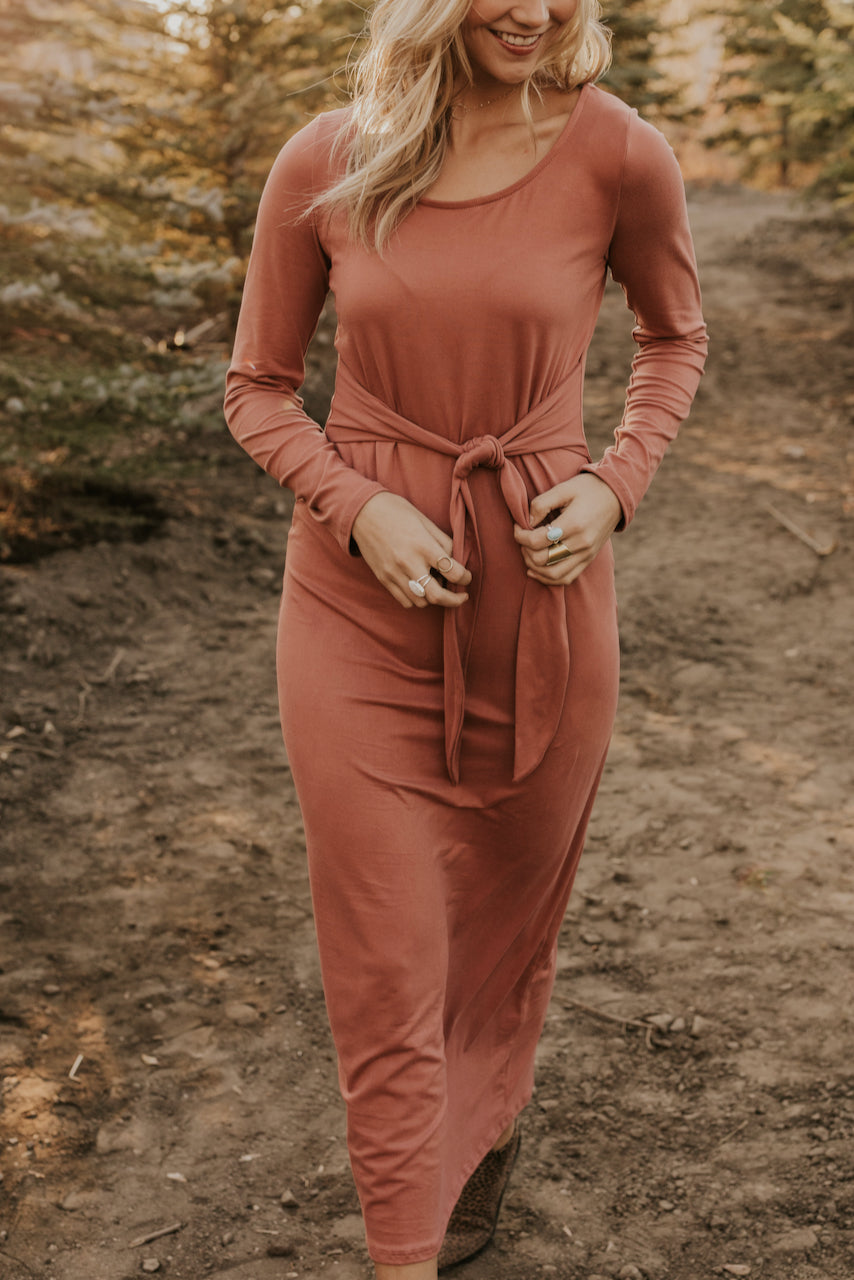 Long Sleeve Pink Maxi Dresses | ROOLEE