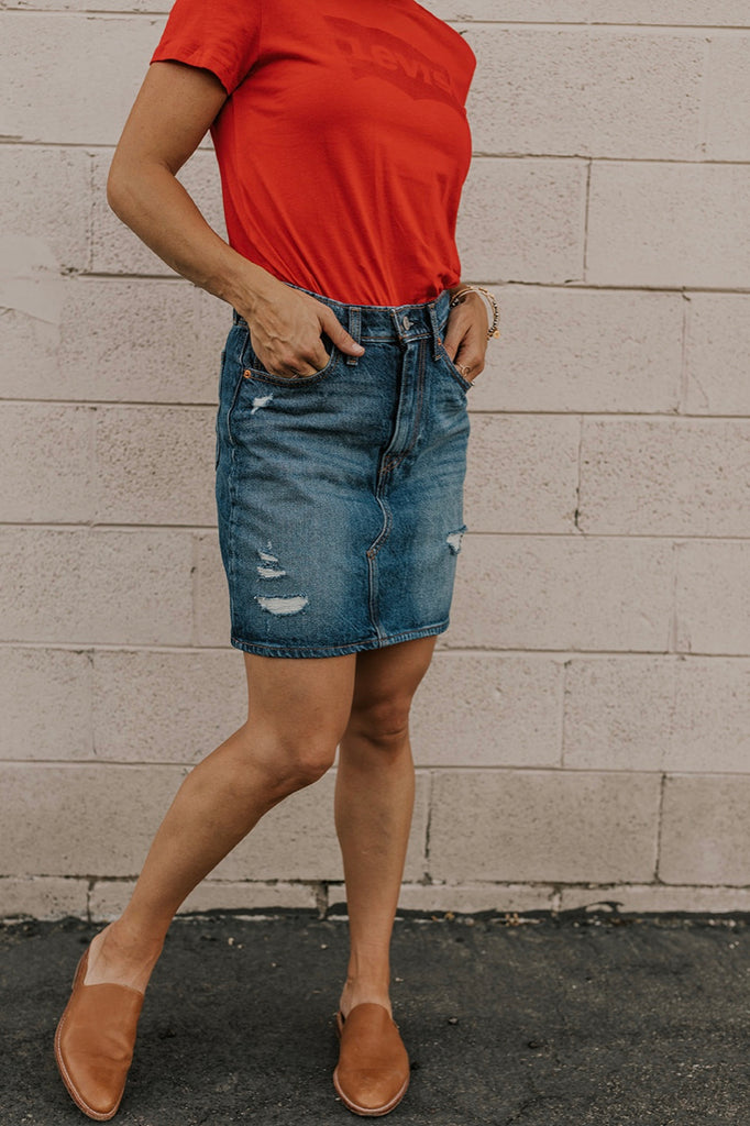 Levi's High Rise Deconstructed Iconic Denim Skirt
