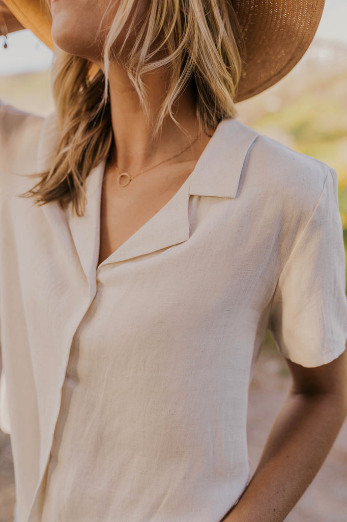 Button Down Tie Blouse For Women | ROOLEE