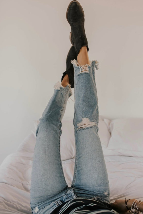 Free People Chewed Up Mid-Rise Straight-Leg Jeans | ROOLEE