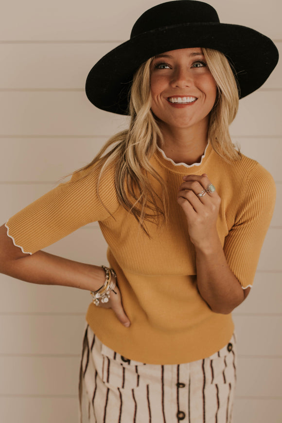 Mustard Ribbed Scalloped Top | ROOLEE