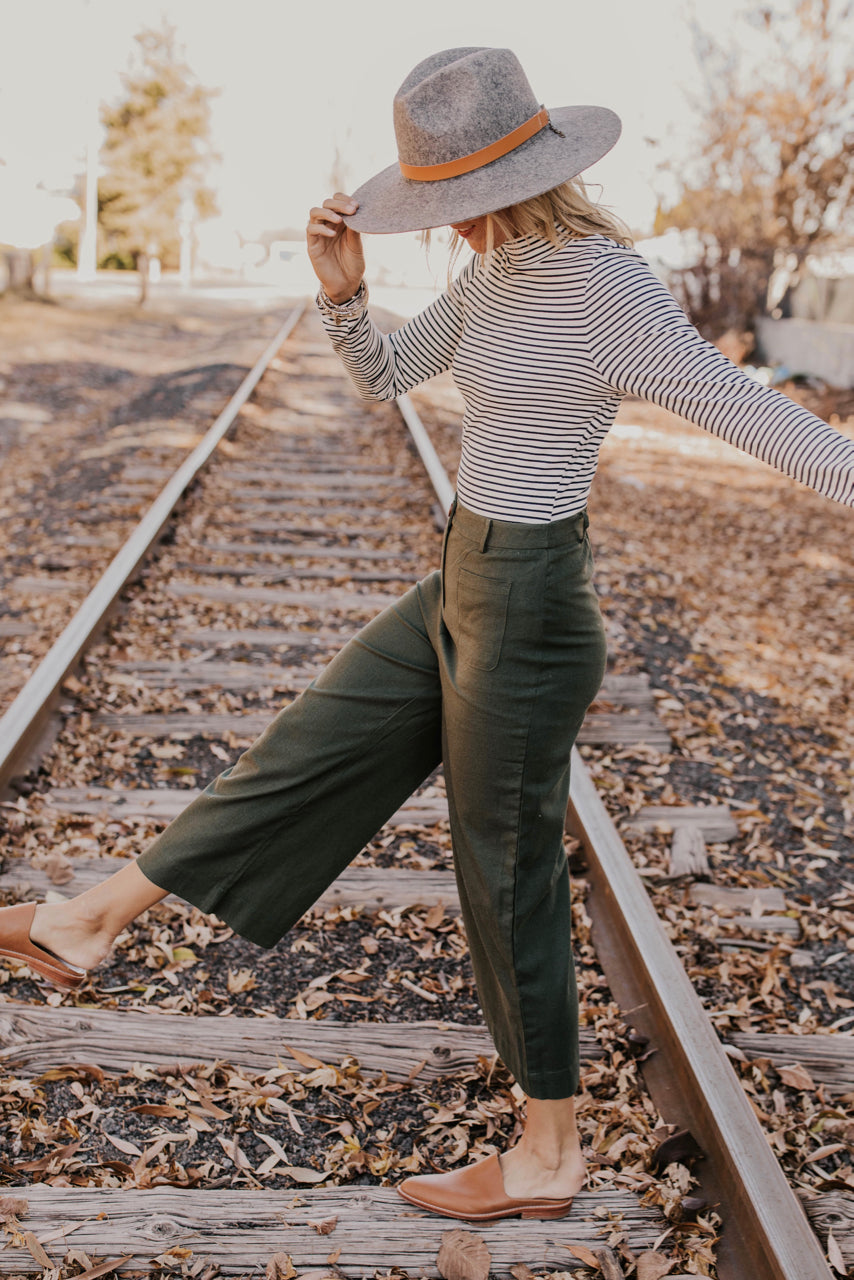 Striped Mock Neck Bodysuit Outfit | ROOLEE