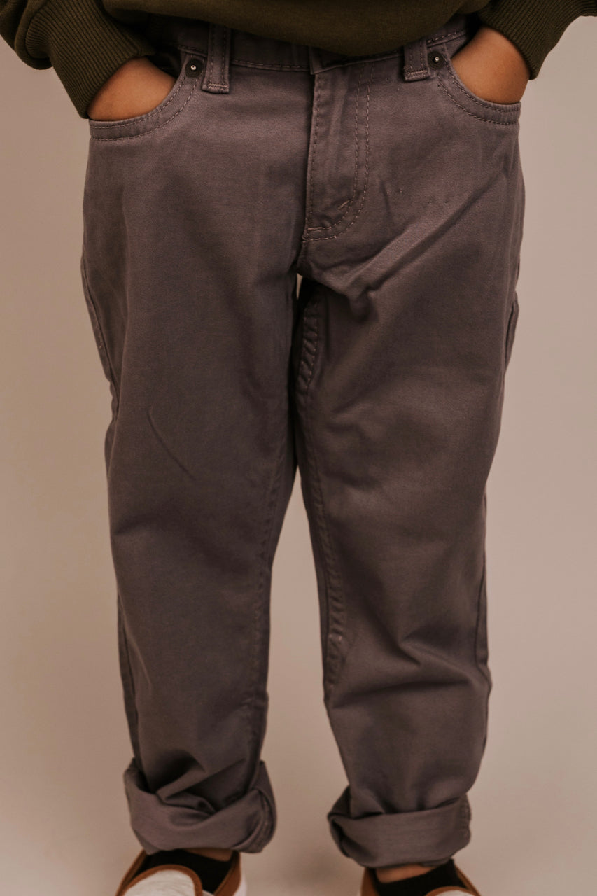 Grey Adjustable Waist Jeans For Boys | ROOLEE