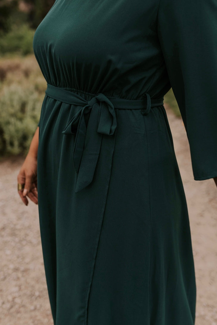 Hunter Green Tie Front Maxi Dress | ROOLEE