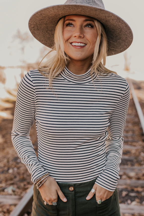 Striped Mock Neck Bodysuit | ROOLEE