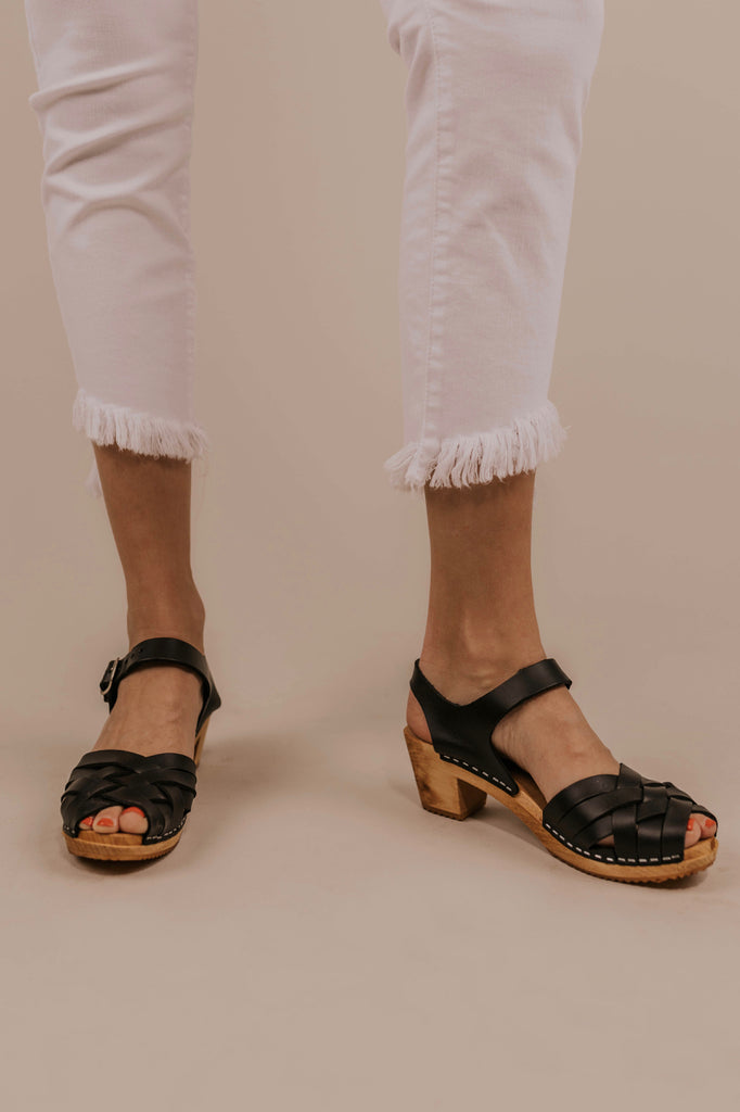 Open Toe Leather Clogs | ROOLEE