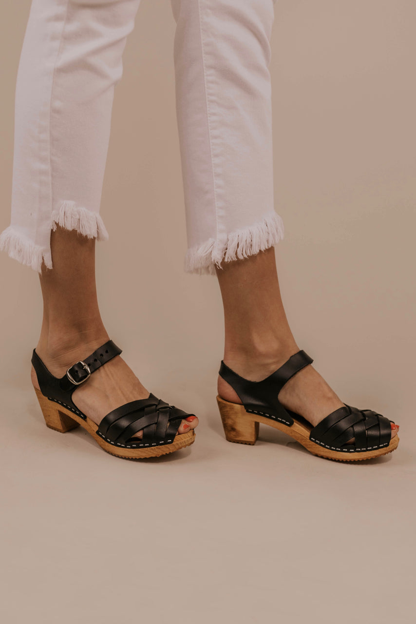 Leather Heeled Clogs | ROOLEE