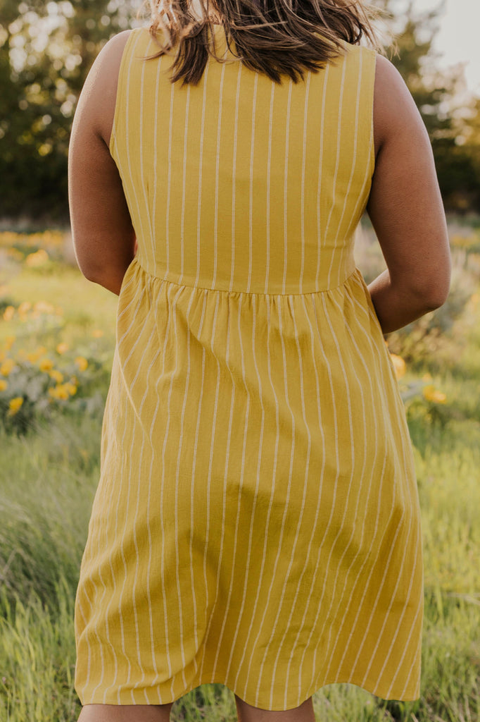 Yellow Stripe Pocket Jumper Dress | ROOLEE
