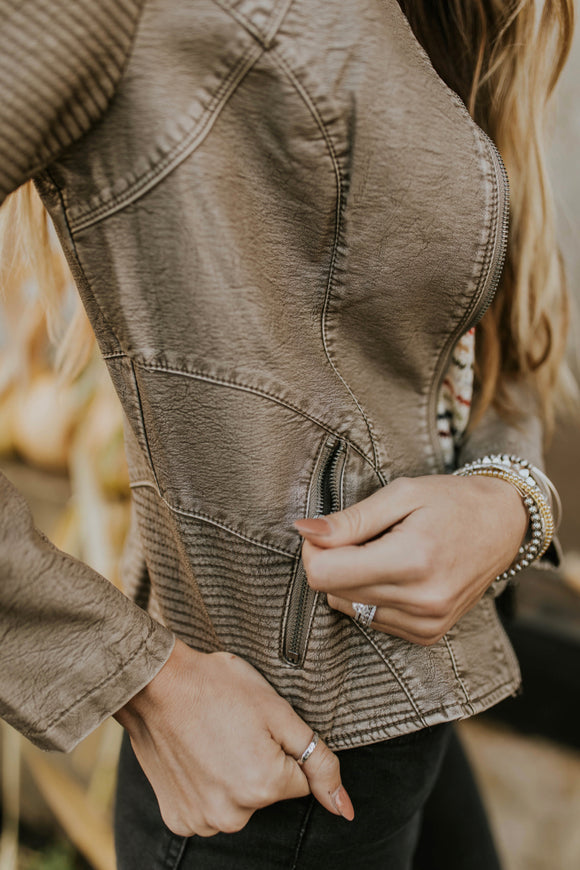 Brown Leather Jacket | ROOLEE