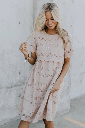 Sabrina Eyelet MOM Dress in Mauve | ROOLEE