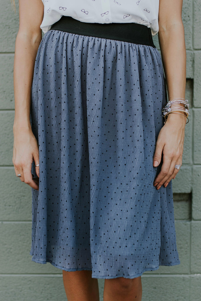 Martindale Polka Dot Skirt in Slate Grey | ROOLEE