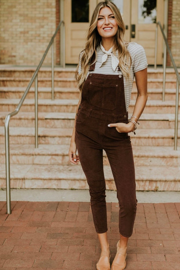 Free People Slim Ankle Cord Overalls | ROOLEE