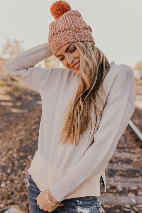 Neutral Colorblock Sweater | ROOLEE
