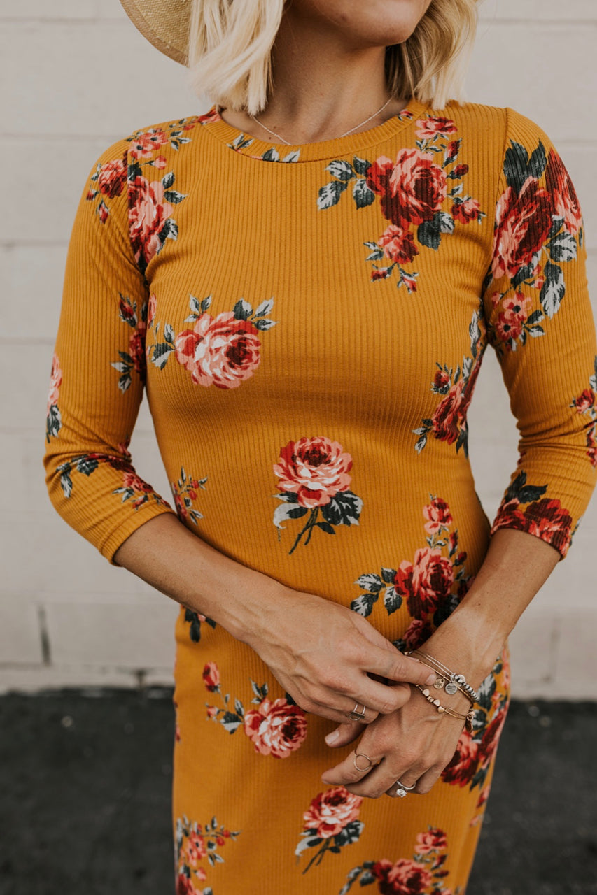 Mustard Ribbed Dress | ROOLEE