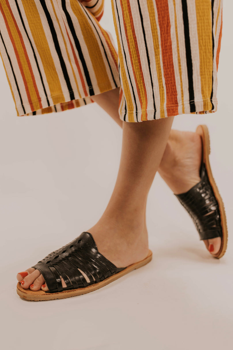 Black Leather Sandals | ROOLEE