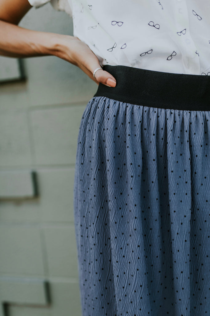 Blue Grey Skirt w/Black Polka Dot Pattern | ROOLEE