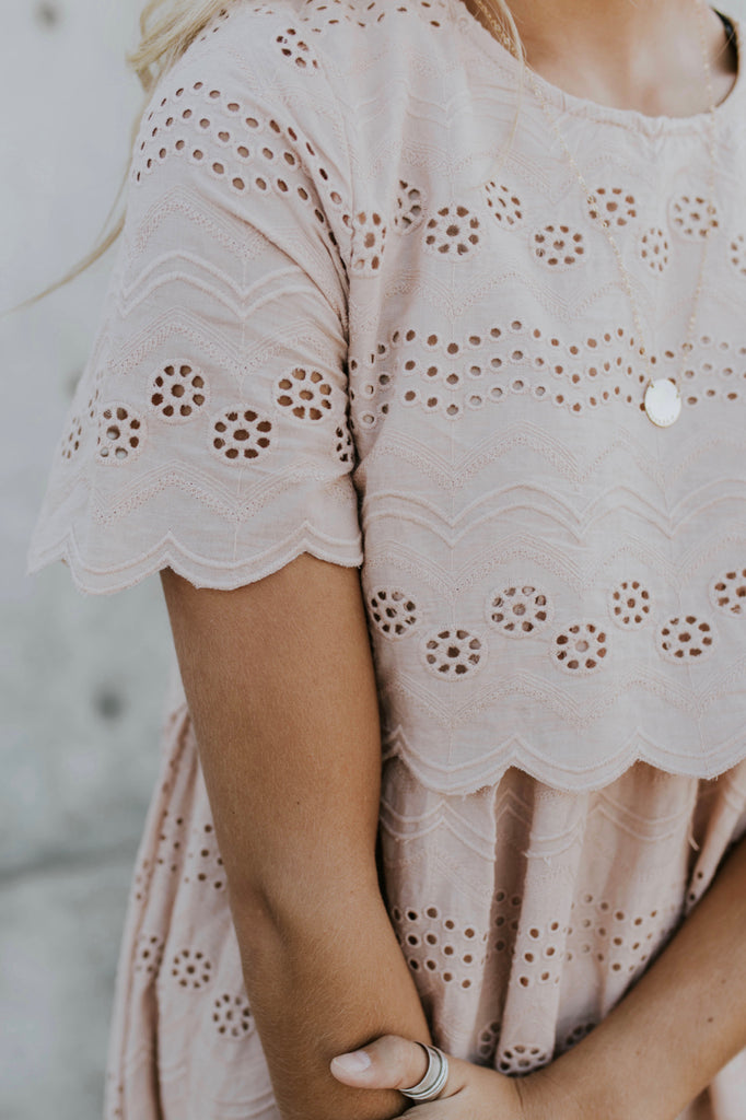 Nursing Friendly Lace Dress in Mauve | ROOLEE