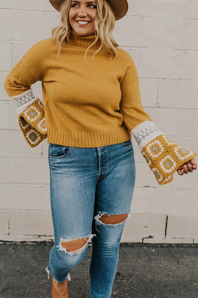 Crochet Sleeve Sweater | ROOLEE