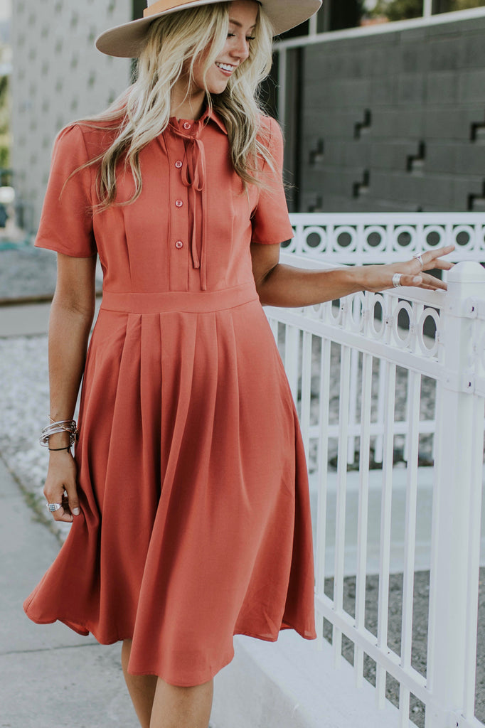 Salmon Dress w/Buttoned Front | ROOLEE