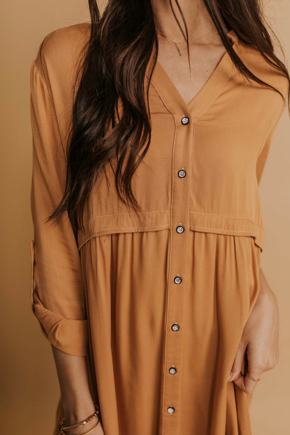 Button Down Long Sleeve Dress | ROOLEE