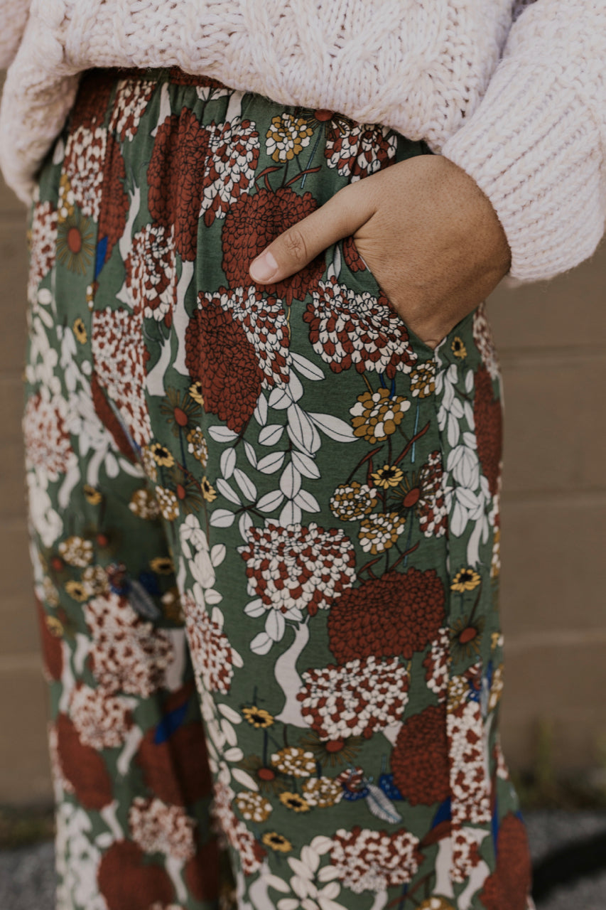 Olive Green Holiday Print Pants | ROOLEE