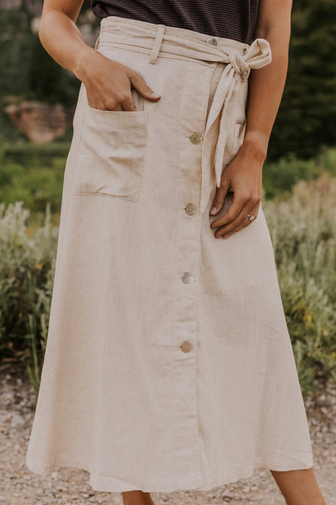 Button Down Midi Skirt | ROOLEE
