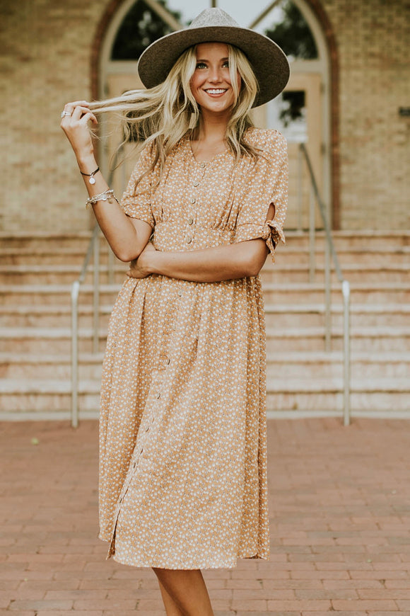 Good As Gold Floral Dress | ROOLEE