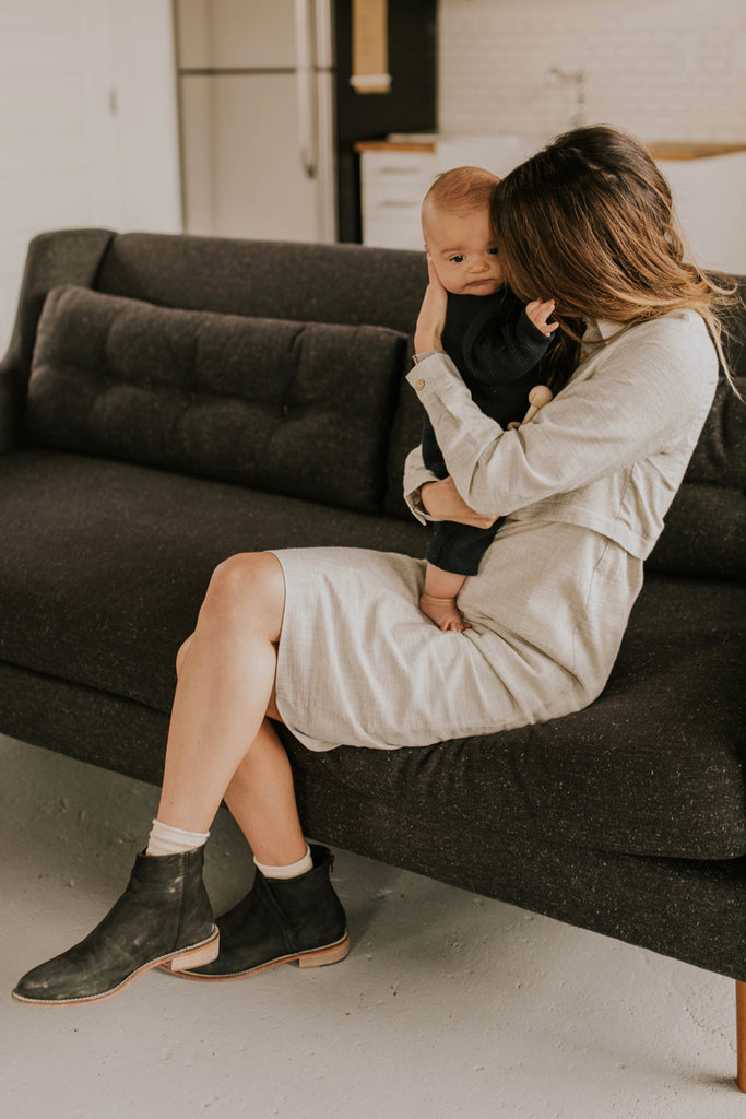 Grey Nursing-Friendly Dress | ROOLEE MOM