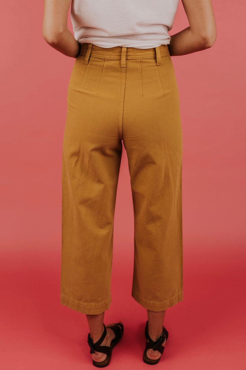 896b4a2472 Mustard Wide Leg Pant - High Rise Mustard Pant | ROOLEE