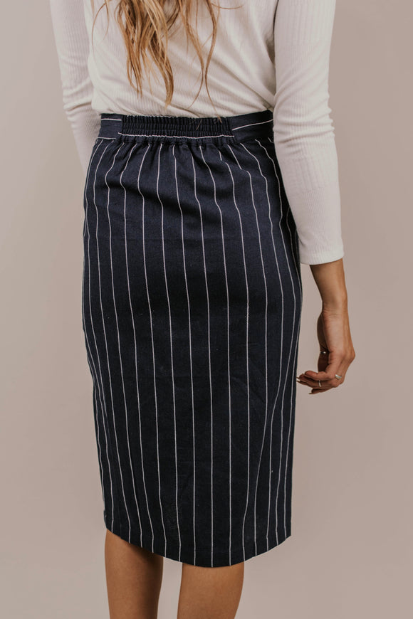 Navy Pencil Skirt | ROOLEE