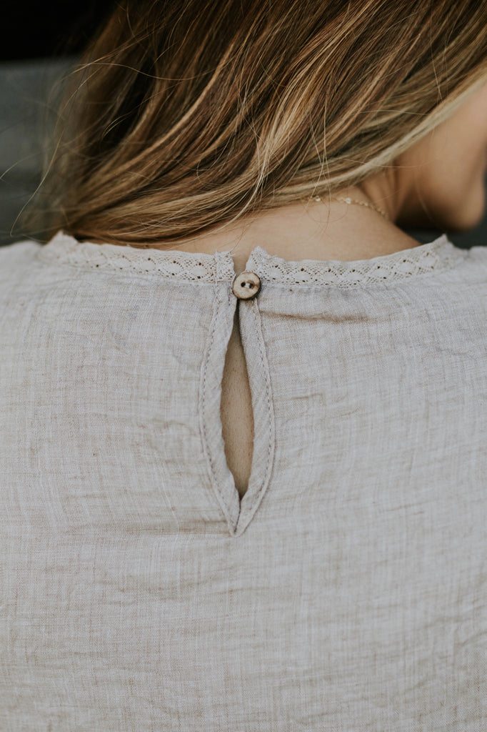 Taupe Blouse w/Keyhole Back | ROOLEE