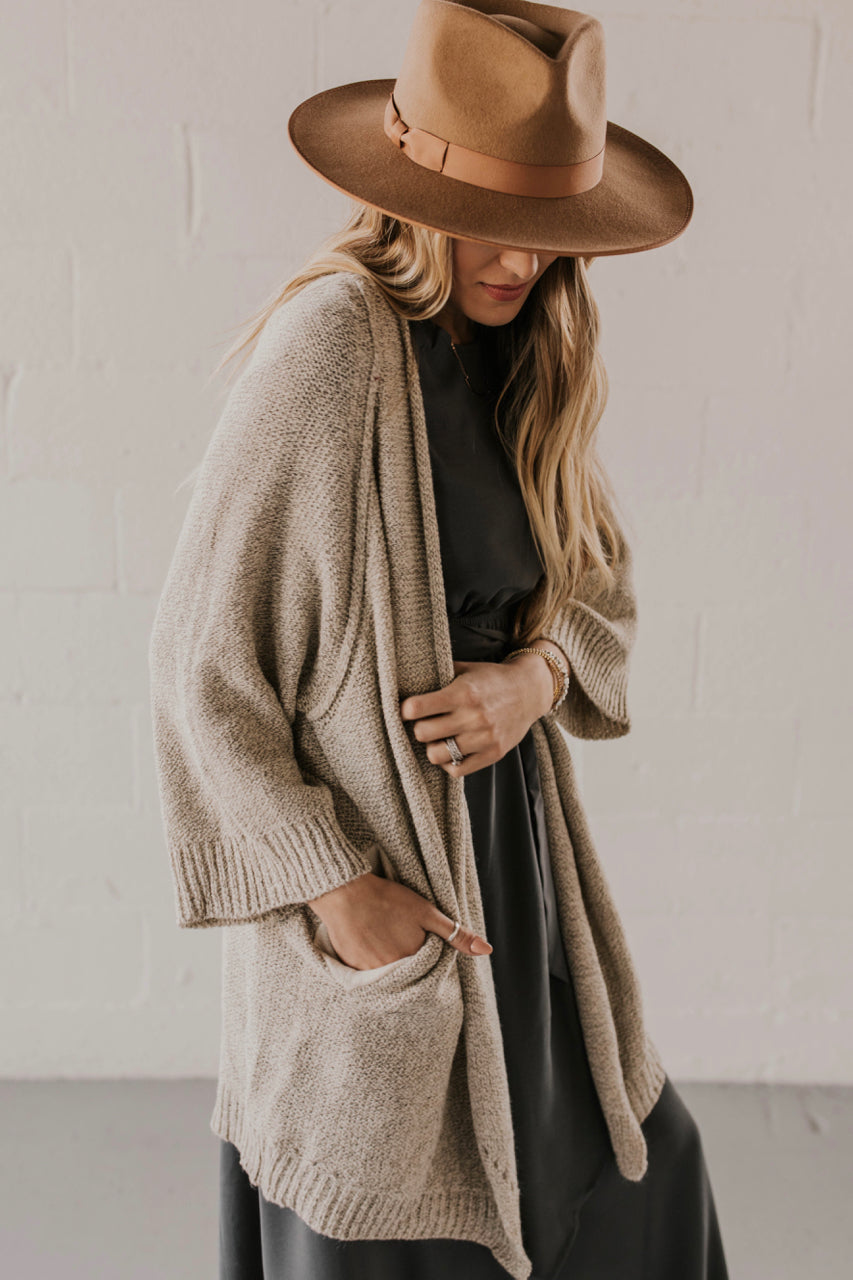 Wide-Sleeve Knit Cardigan with Pockets | ROOLEE