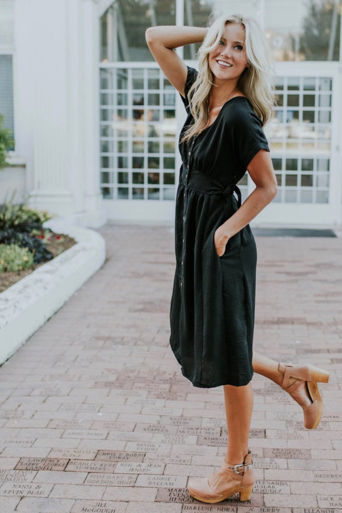 Black Button Dress | ROOLEE