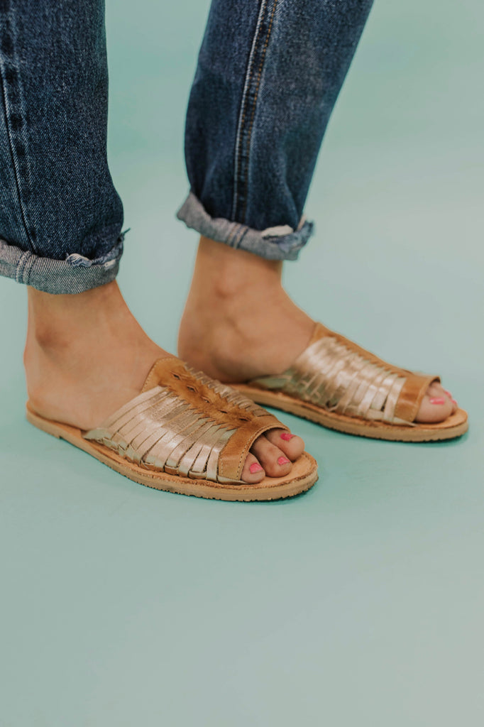 Rose Gold Leather Sandals | ROOLEE