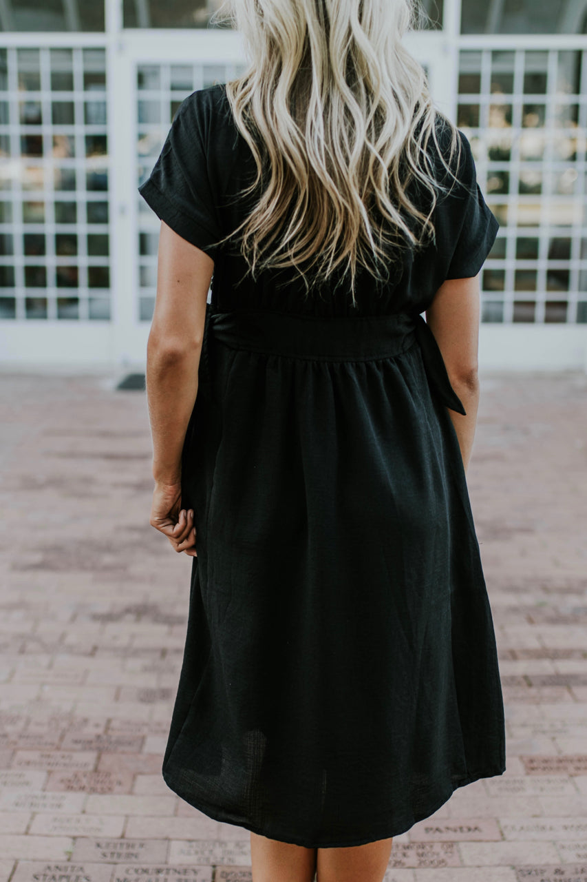 Black Short Sleeve Dress | ROOLEE