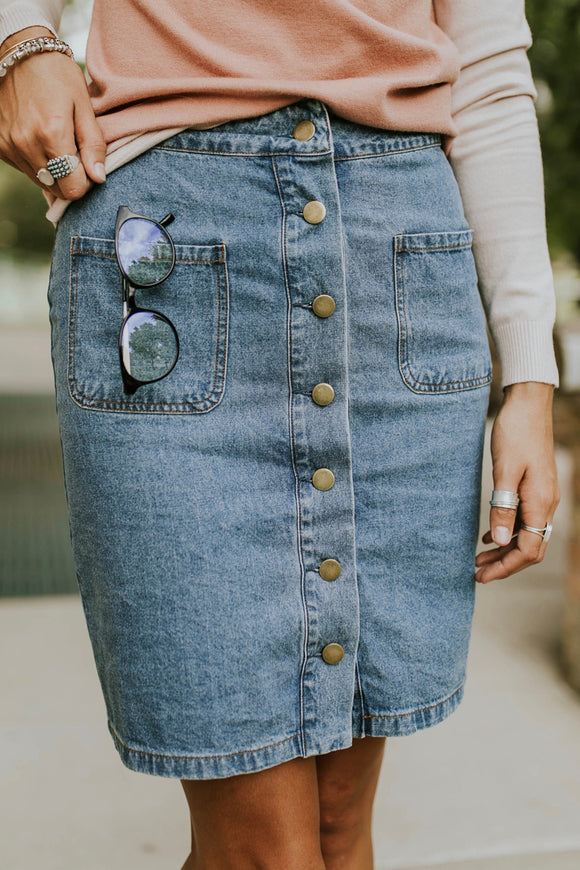 Renee Denim Skirt in Light Wash | ROOLEE